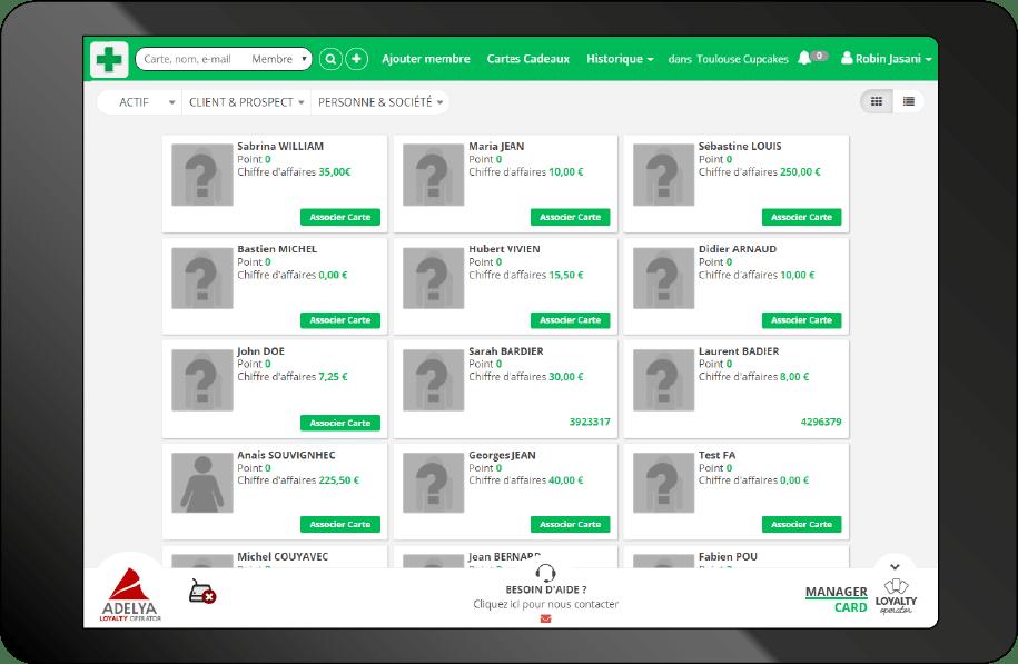 interface vendeur du logiciel de fidélisation pharma